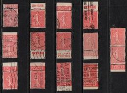TIMBRES DE CARNET / SEMEUSE 50 CENTIMES ROUGE X 13 OBLITERES (ref 1649) - Markenheftchen