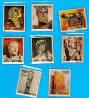 BHUTAN 1971 History Of Sculpture Stamp Set Scott 126 - 126G Heat Molded Plastic - Bhoutan