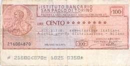 100 Lire (Scheck) San Paolo Di Torono Italien 1976  VF/F (III) - Schecks  Und Reiseschecks
