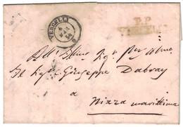 """1854 - MARQUE POSTALE MP De SARDAIGNE """" PP VERCELLI """" + CACHET À DATE SARDE Sur LETTRE COVER LAC Pour NIZZA NICE - Sardaigne"""