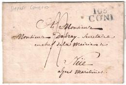 """1813 - MARQUE POSTALE MP """" 105 CONI """" (DEPARTEMENT CONQUIS DE LA STURE) Sur LETTRE LAC Pour NICE TAXE MANUSCRITE - Storia Postale"""