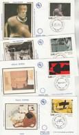 France Lot 24 Enveloppes Différentes FDC Sur Soie 1992 - Tableaux, Aéropostale ( 3 Cachets ) Etc - 7 Scan - 1990-1999