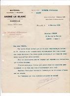 Courrier 1912 Matériel électrique Et Mécanique André Le Blanc, Rue Paradis, Marseille - Electricity & Gas