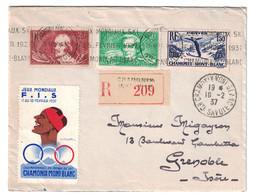 """1937 - LETTRE RECOMMANDÉE OBLITERATION MECANIQUE """" CHAMONIX MONT BLANC JEUX MONDIAUX SKI """" CONCORDANCE TIMBRE VIGNETTE - Marcophilie (Lettres)"""