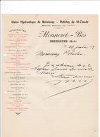 Courrier 1912  Usine Hydraulique De Belvianes Articles De St-Claude Monneret-Bès, Belvianes (Aude) - France