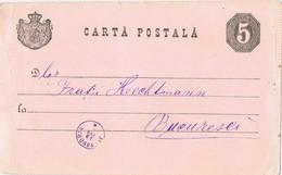 33007. Entero Postal ALEXANDRIA (Rumania) 1890 To Bucarest - Enteros Postales