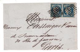 PAIRE TIMBRE CERES N° 4 (COTE 130€) Sur DEVANT DE LETTRE Pour PARIS OBLITERATION GRILLE CAD BORDEAUX - 1849-1850 Ceres
