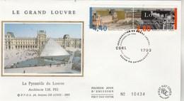 France Enveloppe FDC Sur Soie 1993 Yvert 2851 Et 2852 Paris Le Grand Louvre - FDC