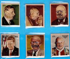 BHUTAN 1972 FAMOUS MEN Stamp Set Scott 145 - 145E Heat Molded Plastic Gandhi Kennedy De Gaulle Churchill - Bhoutan