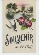"""PAVILLY - Jolie Carte Fantaisie Hirondelle Et Fleurs """"Souvenir De PAVILLY """" - Pavilly"""