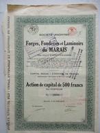 Action Belge : Forges Fonderies Et Laminoirs Du Marais - Montigny-sur-Sambre - Action De Capital De 500 Francs - Industrie