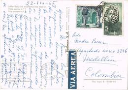33014. Postal Aerea SAN FELIU De CODINAS (Barcelona) 1965. Fechador Exagonal Barcelona - 1931-Hoy: 2ª República - ... Juan Carlos I
