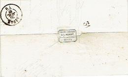 N°18 S/LAC Oblit. LP 252 De MONS 19.7.1867 >LIEGE Cachet à Sec L. HENRY Librairie Catholique Marché Aux Poulets à MONS - 1865-1866 Profil Gauche