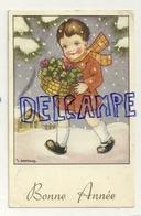 Bonne Année. Enfant Dans La Neige, Panier De Trèfles. Signée Gougeon. 1959 - Gougeon