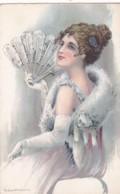 ILLUSTRATEUR -  FEMME AVEC EVENTAIL - Milan N°3647 (lot Pat 75) - Künstlerkarten