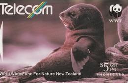 "TARJETA TELEFONICA DE NUEVA ZELANDA, FAUNA, WWF. Fur Seal (Reverse A). ""Telecom Corporation Of New Zealan. G-062A. (037) - Tarjetas Telefónicas"