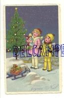 Bonne Année. Couple D'enfants  (anges ?) Dans La Neige, Poupées, Nounours, Traineau, Sapin - Nieuwjaar