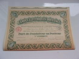 """Lampes électriques """"JOUVENCE"""" (1926) - Actions & Titres"""