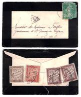 FRANCE - LETTRE 1922 Avec SEMEUSE 5c TAXÉE À 1F40 (AMENDE SUR LES OPR) TIMBRES TAXE 10c 30c 50c X 2 - Marcofilia (sobres)
