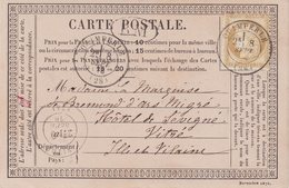 """FRANCE : N° 55 . TYPE CERES. SUR CARTE PRECURSEUR . OBL . """" QUIMPERLE """" . (28) . ET BM . 1876 . - Storia Postale"""