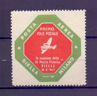 CINDERELLA ERINNOFILIA POSTA AEREA PRIMO VOLO POSTALE BIELLA-MILANO 1947 (GIUGN190031) - Erinnofilia