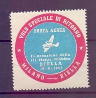CINDERELLA ERINNOFILIA POSTA AEREA VOLO DI RITORNO MILANO BIELLA 1947 1947 (GIUGN190032) - Erinnofilia