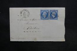 FRANCE - Lettre De Saint Germain En Laye Pour Pontoise En 1862 , Affranchissement Napoléon En Paire - L 30986 - Marcophilie (Lettres)
