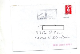 Lettre Flamme Roanne Amnesty Sur Roulette - Marcophilie (Lettres)