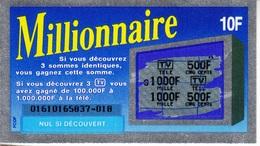 MILLIONNAIRE 0161016 SÉRIE EMISSION N° 1 FCOF TRAIT BLEU TICKET DE GRATTAGE LOTERIE FDJ FRANÇAISE DES JEUX - Serbon63 - Billets De Loterie