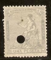España Edifil 138T  1 Peseta Lila  Telégrafos  Corona Y Alegoría 1873  NL227 - Nuevos