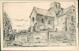 CPA Bertricourt Kapelle Mit Friedhof - Zeichnung 1916 - France