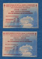 Tuberculose - N++-Comité Défense Contre LaTuberculose - 1919/1939 - 2 Carnets Dif. De 20 Timbres  - Voir Scans - Antituberculeux