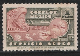 Mexico 1934 - Sc C72, 1peso - Eagle Man And Airplanes - AIR MAIL - MNH - Mexico