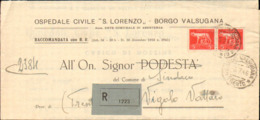 1946-piego Ospedaliero Raccomandato Affrancato Coppia L.5 Imperiale Senza Fasci Annullo Di Borgo Valsugana Trento Del 5 - Storia Postale