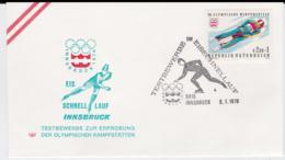 Austria Cover 1976 Olympic Games Innsbruck - Testbewerbe Innsbruck Eis Schnelllauf (G99-37) - Winter 1976: Innsbruck