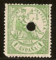 España Edifil 150 T (*) 1 Peseta Verde Telégrafos  Alegoría Justicia 1874 NL1404 - 1873-74 Regentschaft