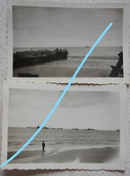 Photo PORT EN BESSIN Port Artificiel Vierville Omaha Beach Normandie Panneau Indicateur 1949 - Guerre, Militaire
