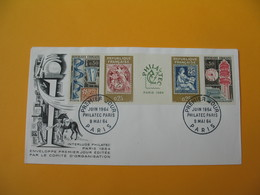 FDC 1964 France N° 1414 à 1417   Exposition Philatélique Internationale PHILATEC à Paris   Cachet  Paris - FDC