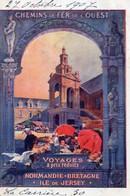 CPA Train Chemins Fer Alsace Ouest Voyages à Prix Réduits Normandie Bratagne Ile De Jersey - Railway