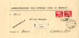 1946-piego Ospedaliero Raccomandato Affrancato Coppia L.5 Imperiale Senza Fasci Emissione Di Roma - Storia Postale