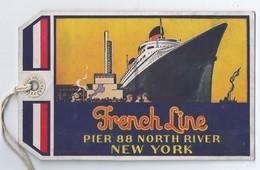 """FRENCH LINE """" LE NORMANDIE"""" Transatlantique Pier 88 North River NEW YORK - Étiquette De Bagage Tourist Classe 1937 - Piroscafi"""