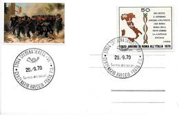ITALIA - 1970 COLOGNA VENETA (VR) Unione Di Roma All'Italia - Centenario Della Breccia Di Porta Pia Bersaglieri - Militaria