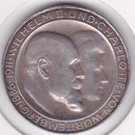 Württemberg 3 Mark 1911 F (STUTGART), Wilhelm II, Silver Wedding Anniversary, KM# 636, En Argent - 2, 3 & 5 Mark Silber