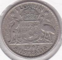 Australie, 1 Florin 1947 Melbourne, George VI, En Argent, KM# 40a - Florin