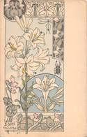 Illustrateur CRIOM - Lys Violettes Scarabée 1900 - Fleurs