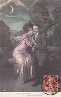 """CARTE FANTAISIE. CPA COLORISÉE. COUPLE. SÉRIE COMPLÈTE DE 5 CARTES .  """" AMOUR ETERNEL """". + TEXTE ANNEE 1913 - Couples"""