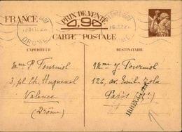 """FRANCE -Entier Postal Type Iris De Valence Pour Paris En 1941, Griffe """" Irregulier """" - L 31069 - Entiers Postaux"""