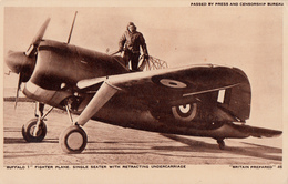 Real B&W Photo Véritable RPPC - WW2 - Buffalo 1 Fighter Plane - Passed By Censorship - Excellent Condition - 2 Scans - Militaria