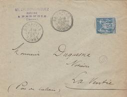 90 15c Bleu SAGE Seul S/ Lettre De (80) CANAPLES - OR - Pour LAVENTIE - Par AMBULANT ARRAS à DUNKERQUE - 2/1887 - 1876-1898 Sage (Type II)