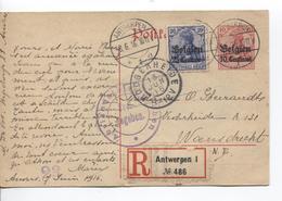 Guerre-Oorlog 14-18 Entier CP 10 Pfg + TP Oc 4 En Recommandée C.Antwerpen 8/6/16 Censure V.Woensdrecht C.Hoogerhede 1993 - Weltkrieg 1914-18